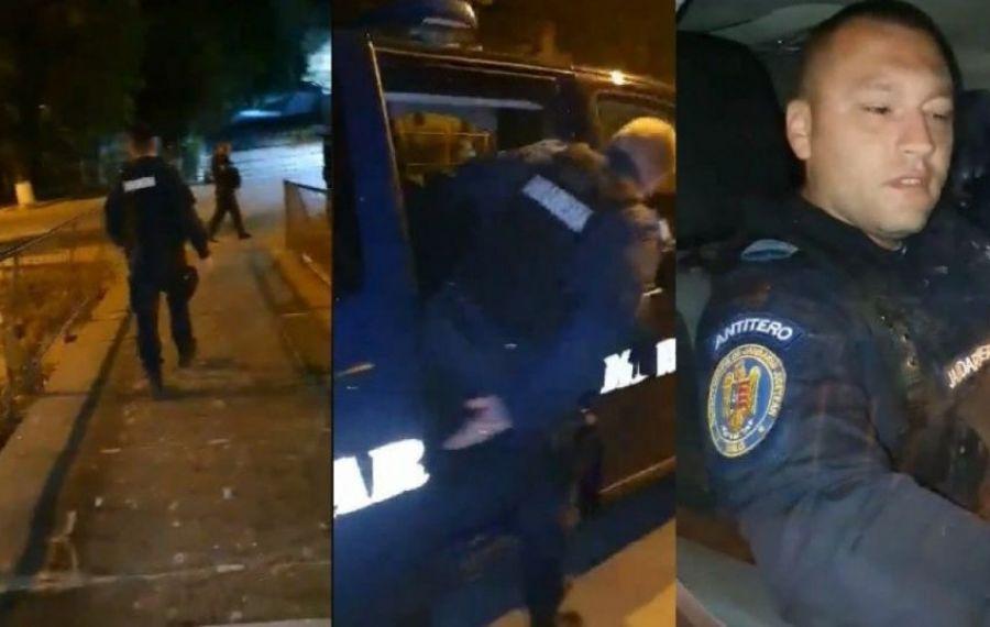 IMAGINILE ZILEI: Trei jandarmi anti-tero, luați la FUGĂ de o femeie amendată