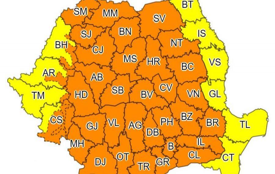 UPDATE.Cod portocaliu de PLOI abundente și VIJELII în 35 de județe și municipiul București, până DUMINICĂ dimineață