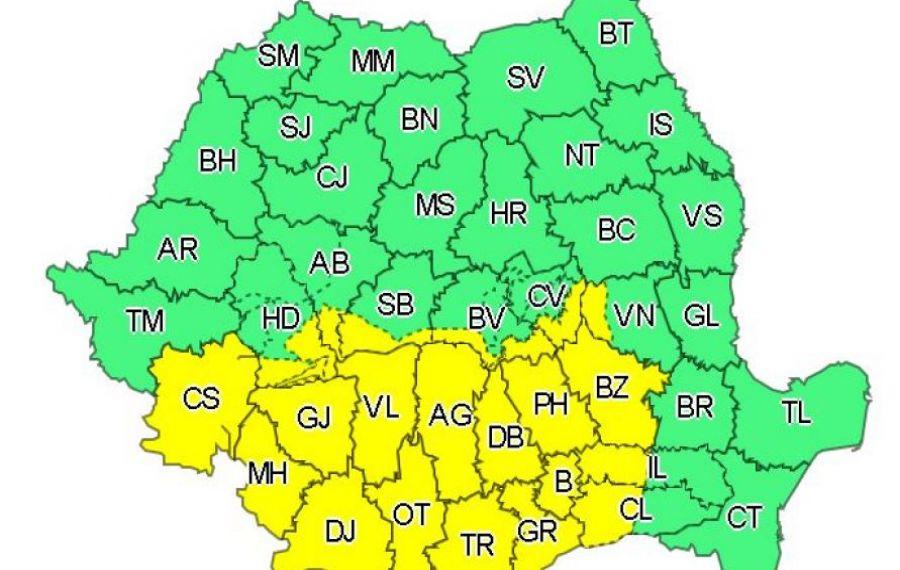 Cod galben de NINSORI abundente în centrul și sudul țării, până luni după-amiază