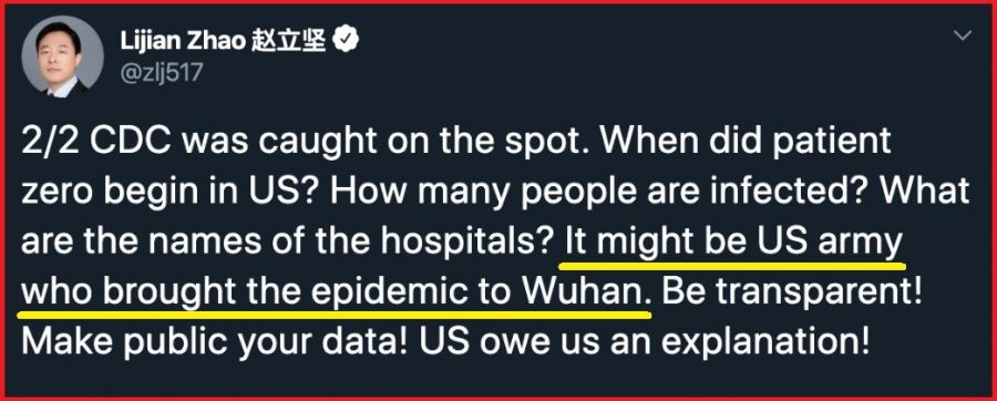 """CHINA: ' Armata americană ar fi putut fi cea care a adus epidemia la Wuhan"""""""
