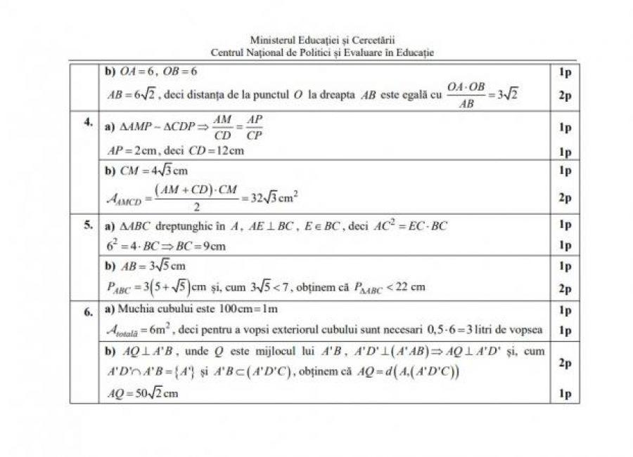 EVALUARE NAȚIONALĂ 2021. Modele de subiecte şi barem de corectare la Matematică